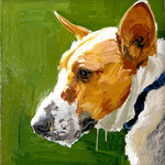 Corgi (for JM), 2006 Oil on canvas, 13 x 13 inches