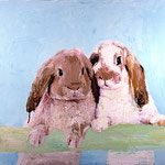 Two Bunnies on a Branch, 2003 Oil on canvas, 26 x 26 inches