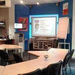 interactiv, mit großem Smartboard