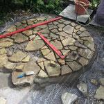 Verschiedene Steinformate werden harmonisch in der Fläche verteilt und die Zwischenräume ausgepflastert. Dabei wird die Belagsoberfläche ständig mit der Wasserwaage kontrolliert.