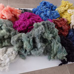 séchage de la laine teintée