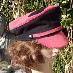 Casquette marin en velours rose et noir