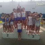 Podium équipe Jeunes Poussins: 1er Jeanne d'Arc de Dax, 2ème Union Gymnique St Paul lès Dax, 3ème Croisés de Bayonne