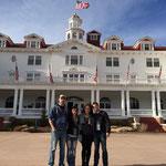 In front of the Stanley Hotel.  Tony Wash, Rhiann Owen, Kristina Kain, Jason Kain