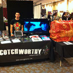 Jason manning the table, waiting for the next set of potential customers to come by and check out the Body Cube!