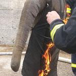 Unser Dummy wurde in Brand gesetzt