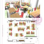 Salle de restauration de 100m² d'une maison de retraite