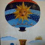 Montgolfiere  bleue 80x100