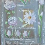 """""""fleurs blanches sur papier et lin""""80x40"""