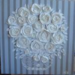 Bouquet sur rayures 80x80