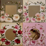 Roses d'avril miroirs 4x30x30