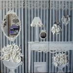 Roses blanches et stucks 3x40x120