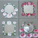 Miroirs avec roses 4x30x30