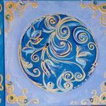 Vitrail bleu 4x40x40