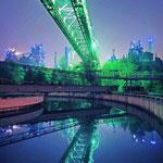 Der Landschaftspark Nord in Duisburg mit besonderer Illumination (© Route der Industriekultur)