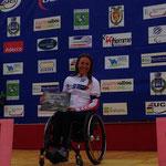 Renata Kaluza bei der Siegerehrung des Straßenrennens