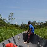 Mit dem Boot durch die Laguna Limoncocha.