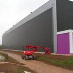 toile extérieure de bâtiment industriel avant la pose