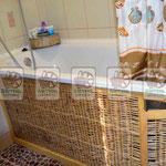 Плетёный экран под ванну с дверцой  для хранения бытовой химии (детская защёлка)