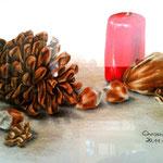 Weihnachtliches Stilleben - Zeichnung