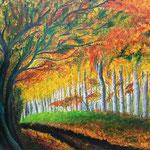 """Herbstblau"" - Acryl auf Leinwand / ""Automne bleu"" - Acrylique sur toile   50 x 70 cm"