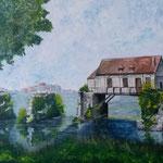 """Die alte Mühle in Vernon"""" - Acryl auf Leinwand / """"Le vieux Moulin de Vernon"""" - Acrylique sur toile   50 x 70 cm"""