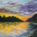 """Rheinromantik""Öl auf Leinwand / ""Le Rhin romantique"" huile sur toile 80 x 100 cm"