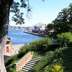 Blick auf den renovierten Schuppen an der Hafenstrasse