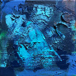 out of the Blue, 20 x 20 cm, mixed media on canvas