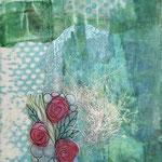Collage malt silkepapir, sjokoladepapir, angelinafiber, trykt stoff og malt quiltstykke, limt og forseglet med bivoks