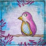 2015 © PINK BIRD 25x25cm, tegne, transfer artist paper, stempeltrykk, maskinquilting, akrylfarbe, bomull