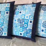 Kissenset 50x50cm, maschinengenäht, baumwolle, stempeldruck mit textilmalfarbe