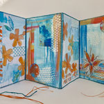 Leporello Seiten Art Journal 21x60cm, collage, malen, stempeln, karton, akrylmalfarbe