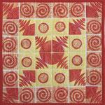 Duk 31x31 cm, stempeltrykk med tekstilmaling, maskinsøm, bomull