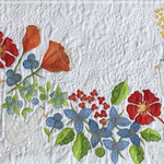 2018 © FLOWER POWER 40x120cm, applikationen, malen, schattieren, maschinenquilten, sticken, leinen, baumwolle