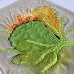 Leporello sider Flower Power, applikasjon, maling, maskinquilting, broderi, lin, bomull, organza