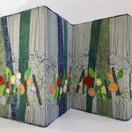 Leporello Cover Tekstile Eksperimenter 4 Årstider 25x64cm, collage, maskinquilting, stoff