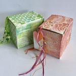 Geschenkboxen, gelliplatedruck, acrylmalfarbe