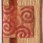 Stempeltrykk med tekstilmaling, maskinquilting, bomull