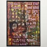 Collage malt vlisofix, plastik og organza, maskinquilting, maling, hullstruktur med varmluftføner