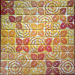 2014 © OKTOBER 50x50cm, stempeltrykk med tekstilmaling, håndquilting, bomull