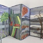 Leporello Cover Textile Experimente 4 Jahreszeiten 25x64cm, collage, sticken,maschinenquilten, stoffe, perlen