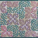 Tischset 42x32cm, stempeldruck mit textilmalfarbe, maschinenquilten, baumwolleSpisebrikke 42x32cm € 18, stempeltrykk med tekstilmaling, maskinsøm, bomull