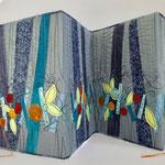 Leporello Cover Art Journal 21x60cm, collage, maskinquilting, stoff