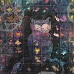 Collage vlisofix gemalen, plastik und organza, maschinenquilten, malen, lochstruktur mit heißluftfön