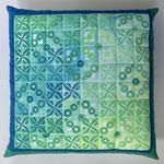 Kissen 50x50cm, maschinengenäht, baumwolle, stempeldruck mit textilmalfarbe
