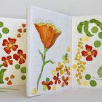 Leporello sider Flower Power 26x73cm, applikasjon, maling, sjattering, maskinquilting, broderi, lin, bomull