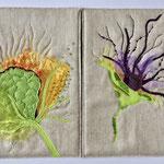 Leporello Seiten Flower Power, applikationen, malen, maschinenquilten, sticken, leinen, baumwolle, organza