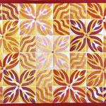 Tischset 42x32cm, stempeldruck mit textilmalfarbe, maschinenquilten, baumwolle
