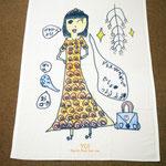 小学生の女の子のハーフケット。マジックで縁取りしているので、しっかりした絵になりました。